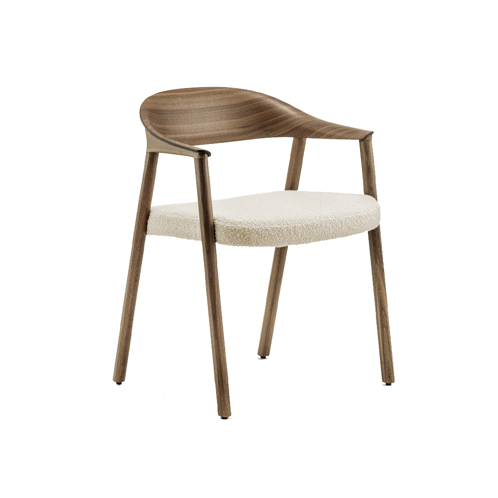 Héra Dining Chair With Arms (Upholstered Seat)