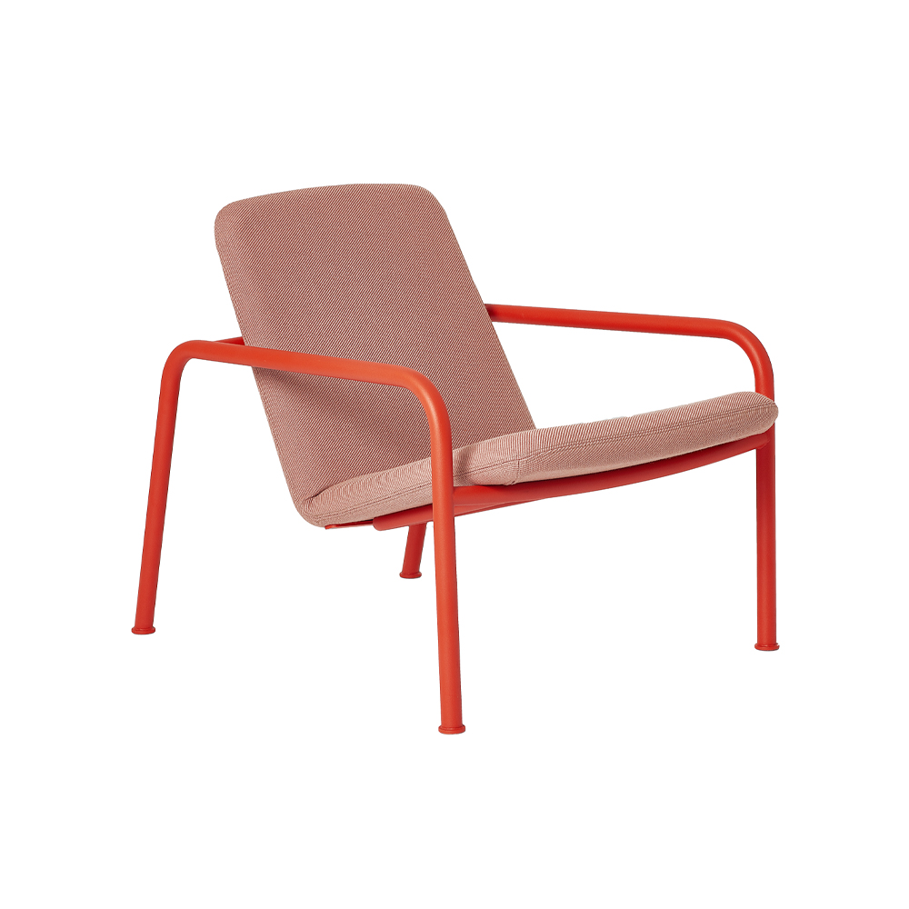 Oval Low Back Armchair, Metal Frame