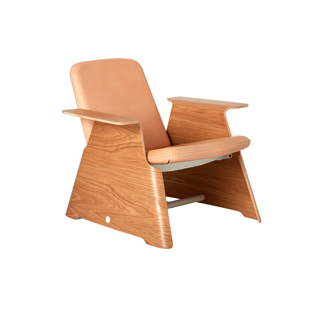 Oval Low Back Armchair Plywood Arms