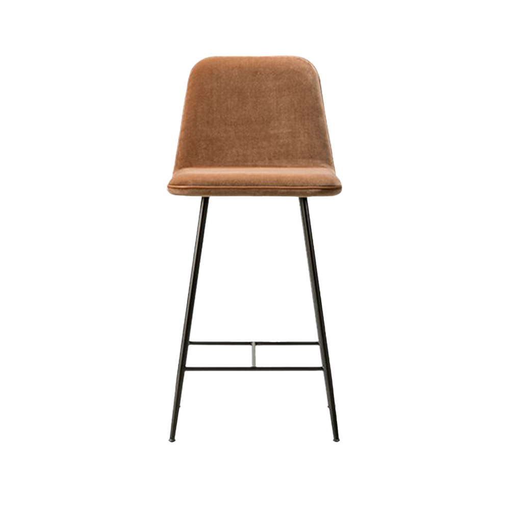 Spine Metal Base Stool (Fully Upholstered)