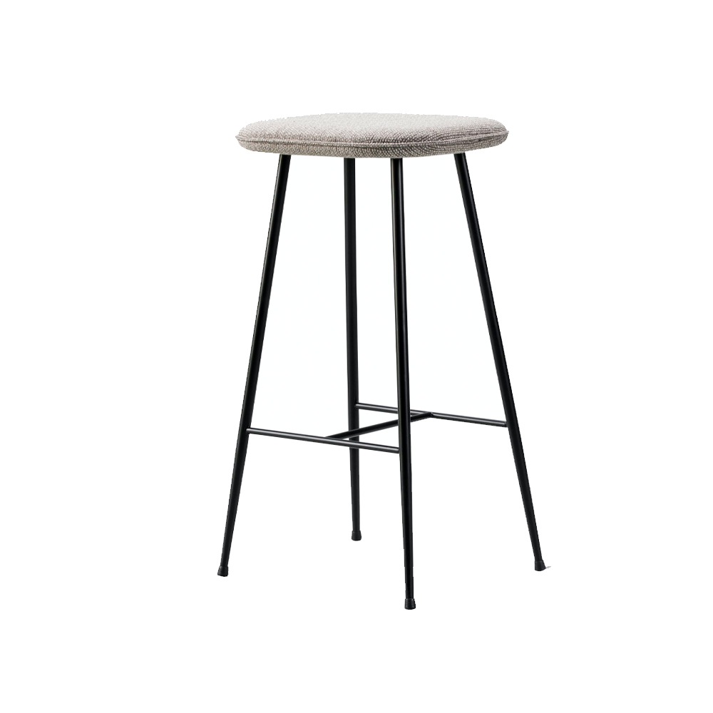 Spine Metal Base Stool, Without Back (Seat Upholstered)