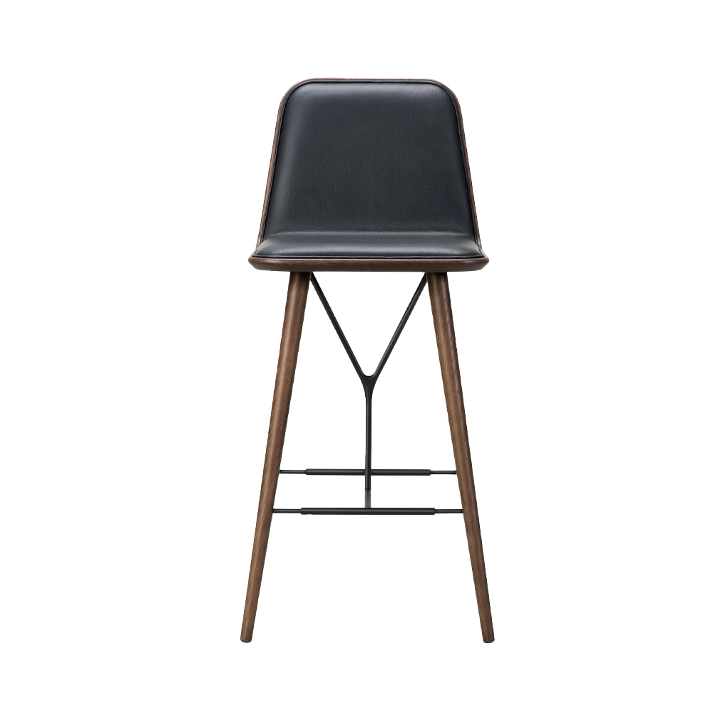 Spine Wood Base Stool, With Back (Front Upholstered)