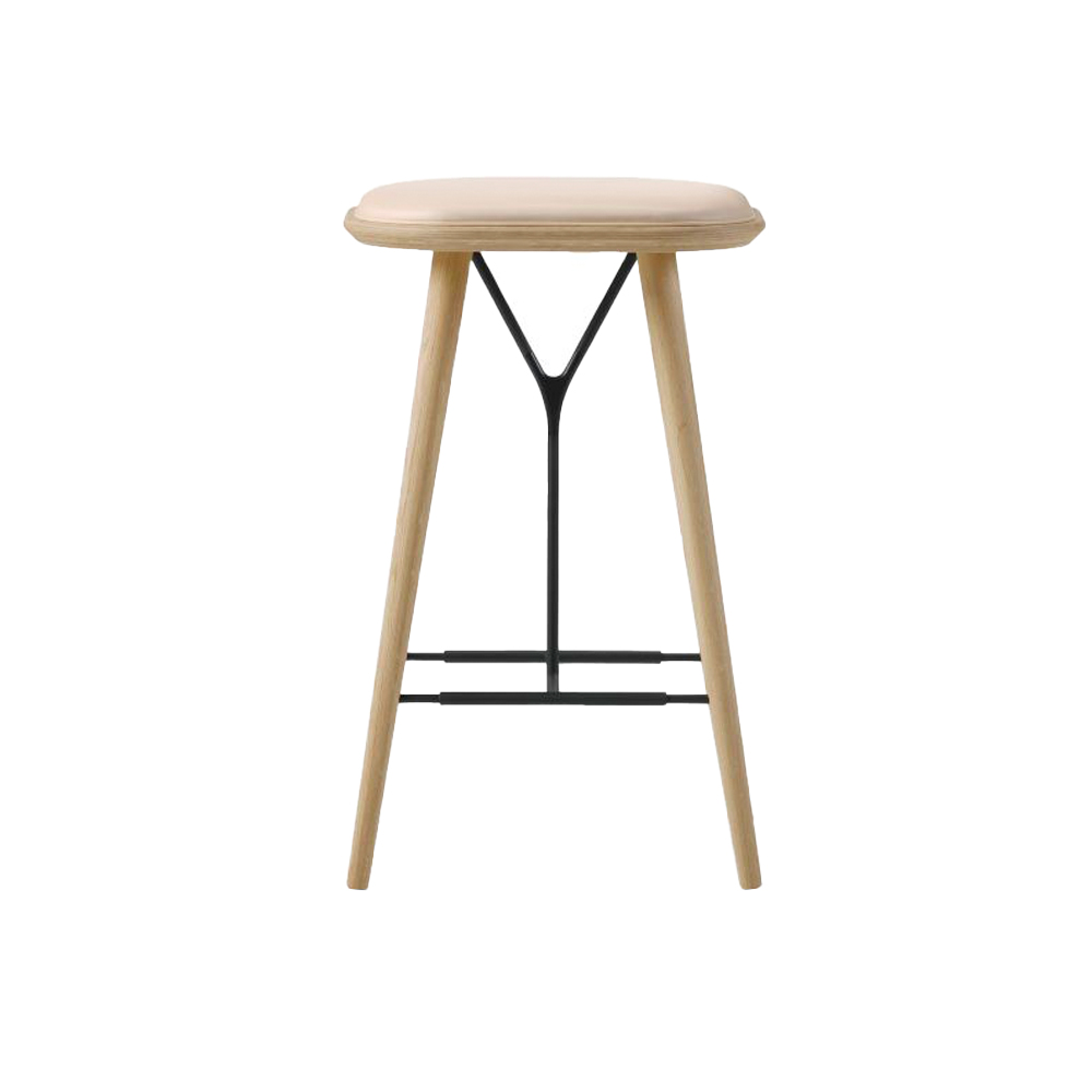 Spine Wood Base Stool (Seat Upholstered)